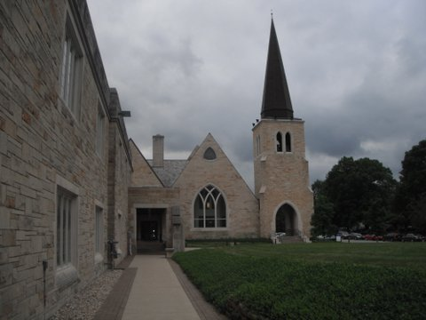 Caption: Outside St. Paul's Episcopal, where the entire interior worship space was rotated 180° to accommodate a brand new organ in 2007. (Source: Eric McAfee)