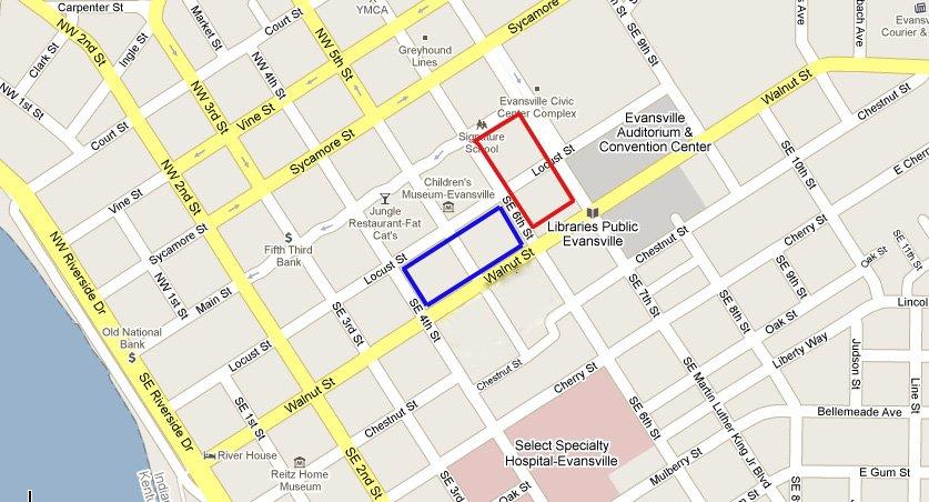 Evansville DT Map corrected 2