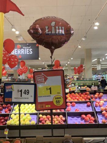 Avocado sales for the Super Bowl