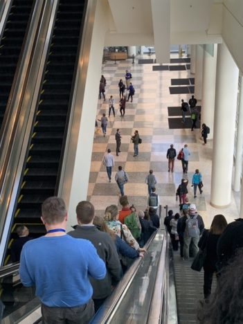 Contraflow escalators at Moscone Center