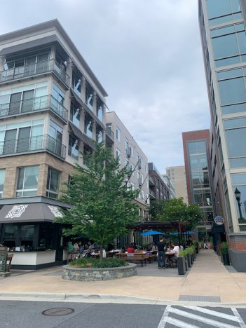Pedestrian corridor in a mixed-use town center called Pike and Rose