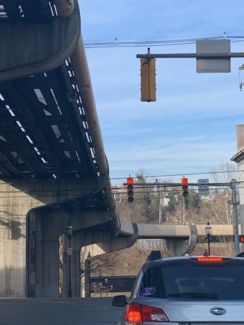 Overhead line for Personal Rapid Transit in Morgantown