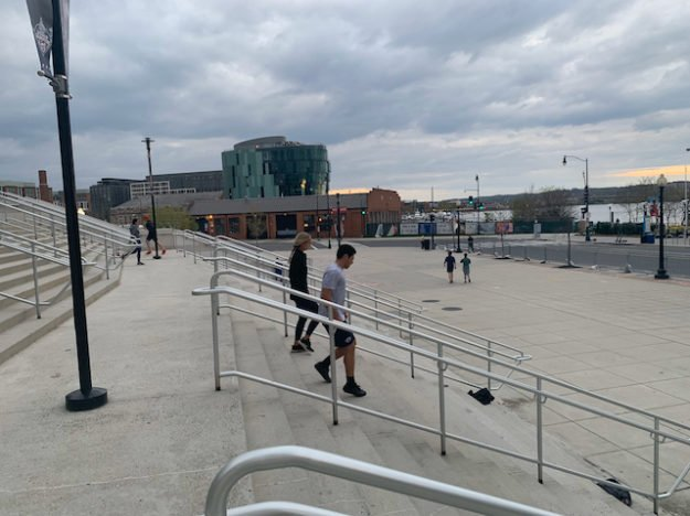 physical fitness on the steps of Nats Park during COVID-19 pandemic