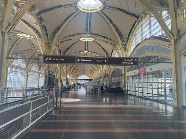 empty airport (DCA) during coronavirus