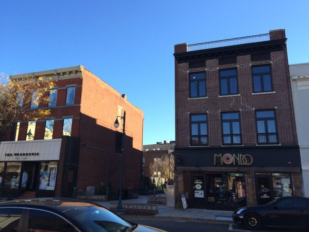 Gap between two buildings in Summit NJ