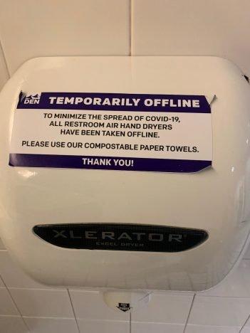 hand sanitation at Denver Intl Airport