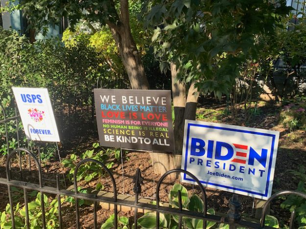 political signs in front yards in Capitol Hill, DC