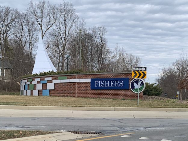 Landmark at entrance to Fishers, Indiana with no reference to Indianapolis