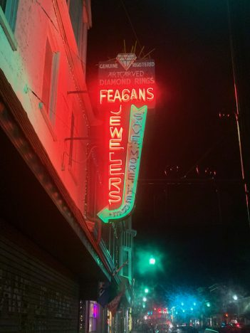Neon lighting in downtown Charles Town, WV