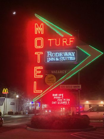 Neon lighting at the old Turf Motel in Charles Town, WV
