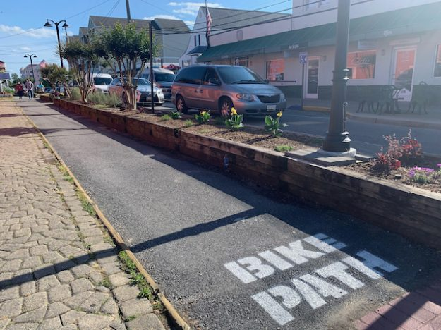 protected bike lane (cycle track) in North Beach, MD