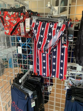 flag elements suggest both American can Confederate origins to this swimsuit