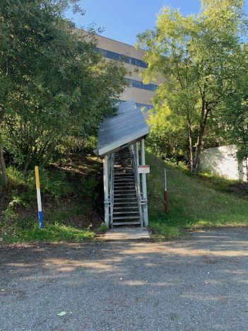 staircase with protections against Anchorage winters
