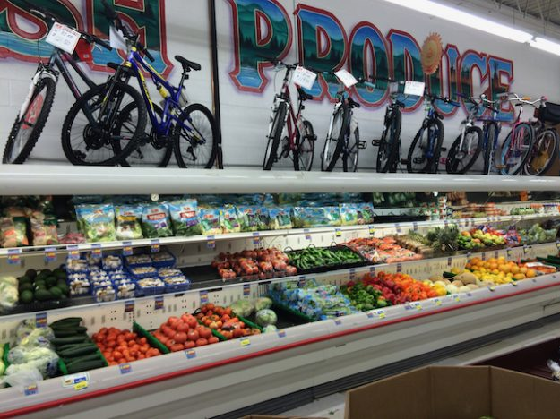 Bikes for sale at the Pine Ridge Indian Reservation supermarket