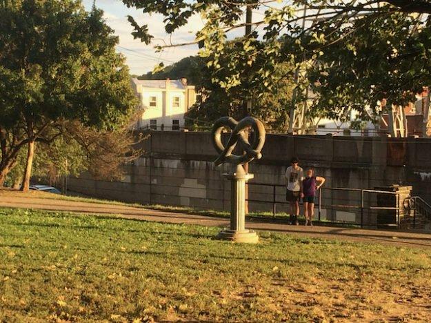 pretzel as public art in a Manayunk park