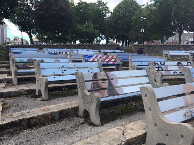 benches as a collective mural in Lehighton