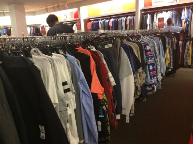 Goodwill-style displays at a Macy's