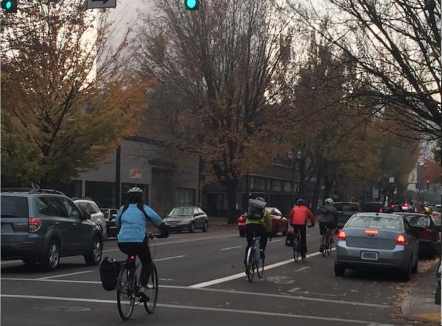 bike traffic in central Portland